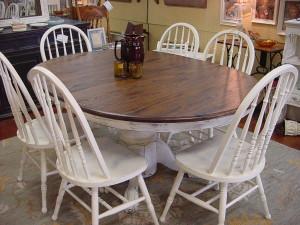 48 Oak Round Table W 18 Leaf Six 6 Matching