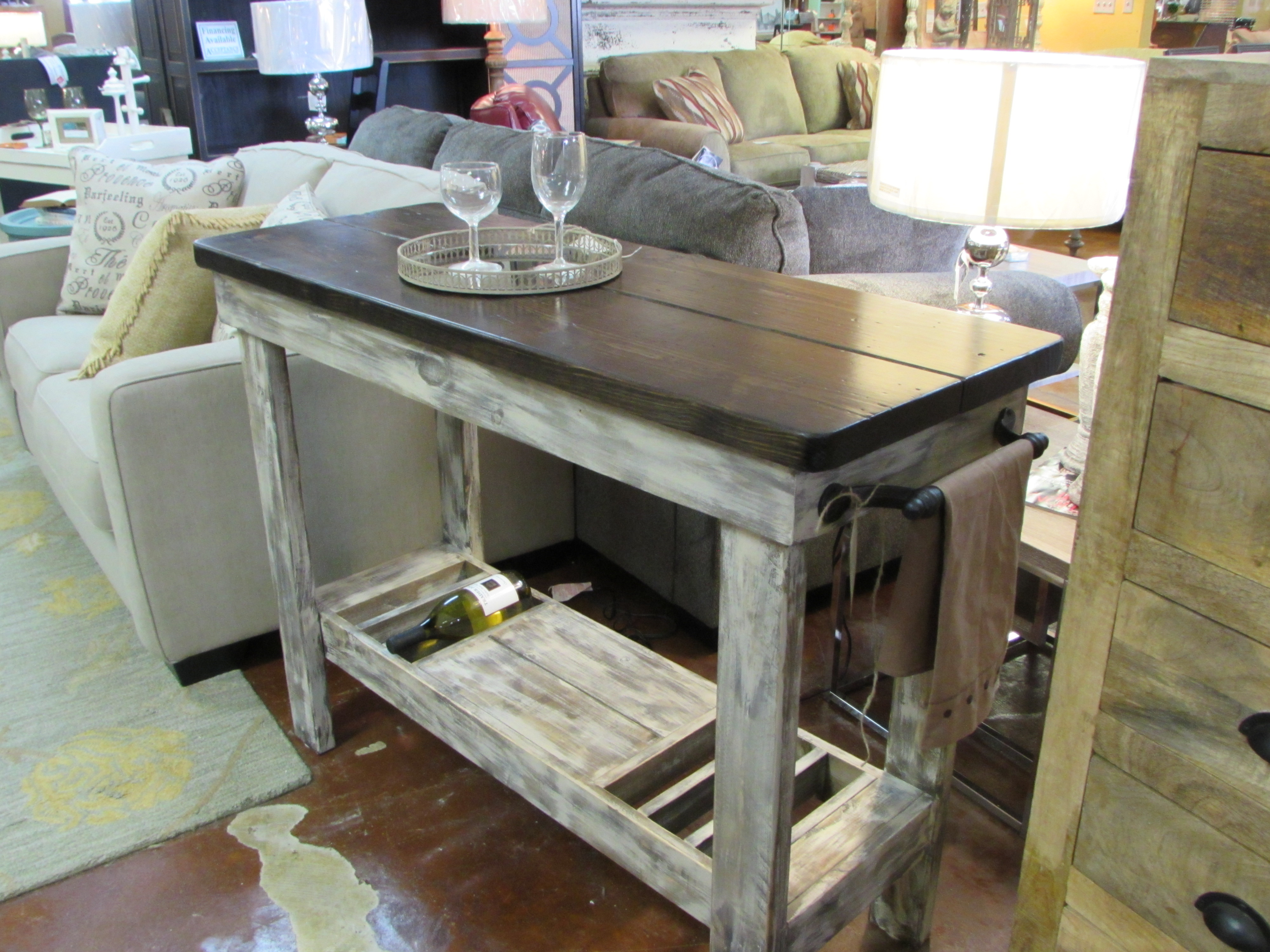 WINE BAR BUFFET TABLE CONSOLE TABLES ANTIQUE ROLLING OFFICE ARM - Office buffet table