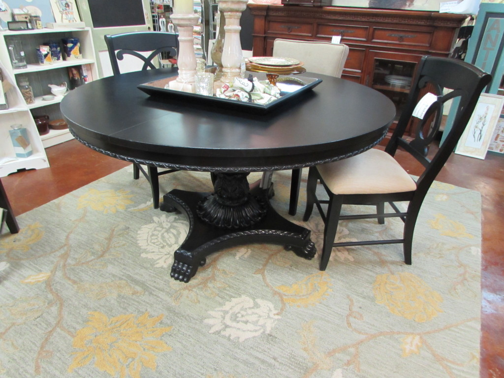 Restored large round pedestal dining table on awesome base for Just dining tables