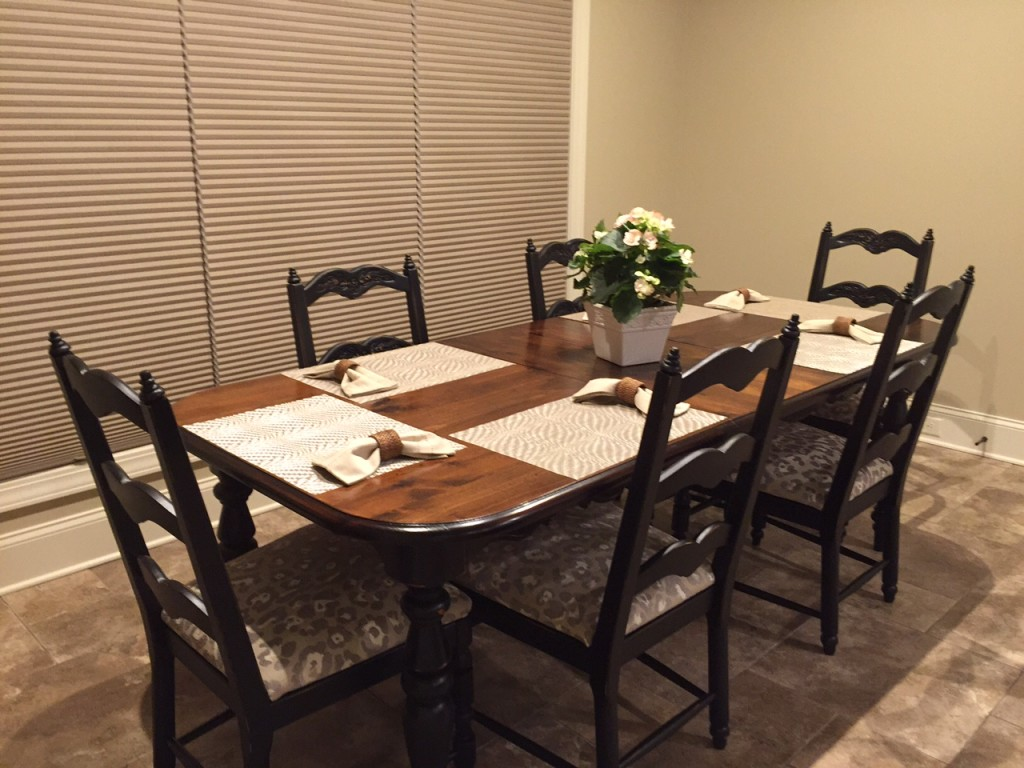REFINISHED DINING TABLE AND CHAIR SET. Full resolution‎  portraiture, nominally Width 1024 Height 768 pixels, portraiture with #A97522.