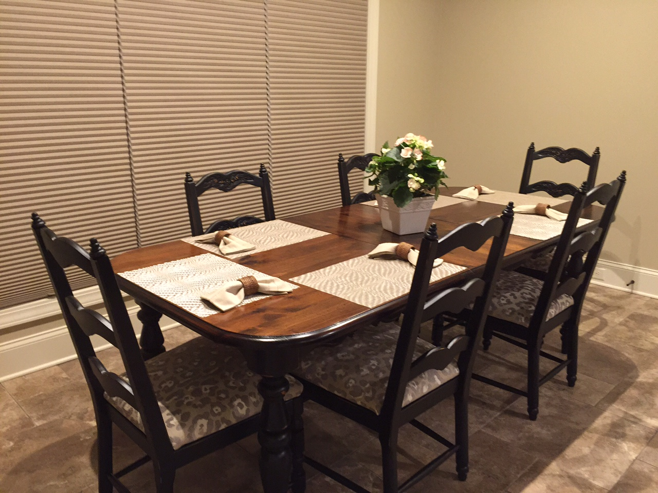 refinishing old dining room furniture for new home just