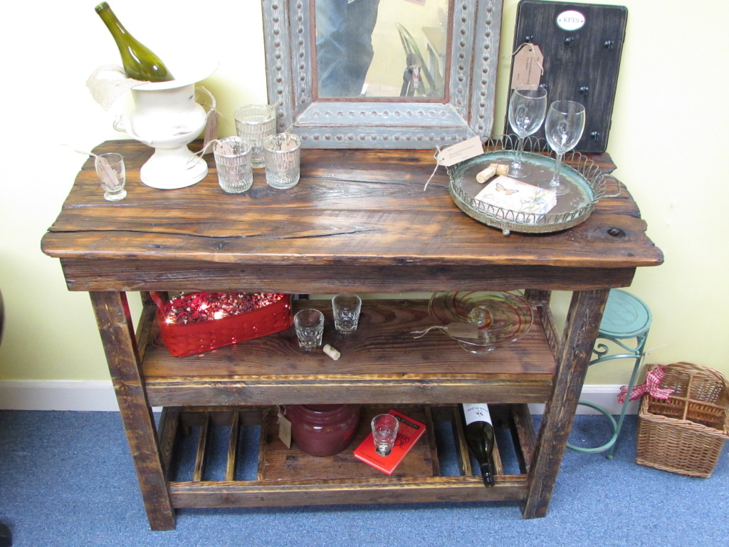 Rustic buffet table furniture - Rustic Barn Wood Wine Bar Buffet Console Table