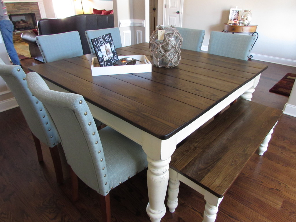 Square farmhouse table matching bench just fine tables Kitchen table with bench and chairs