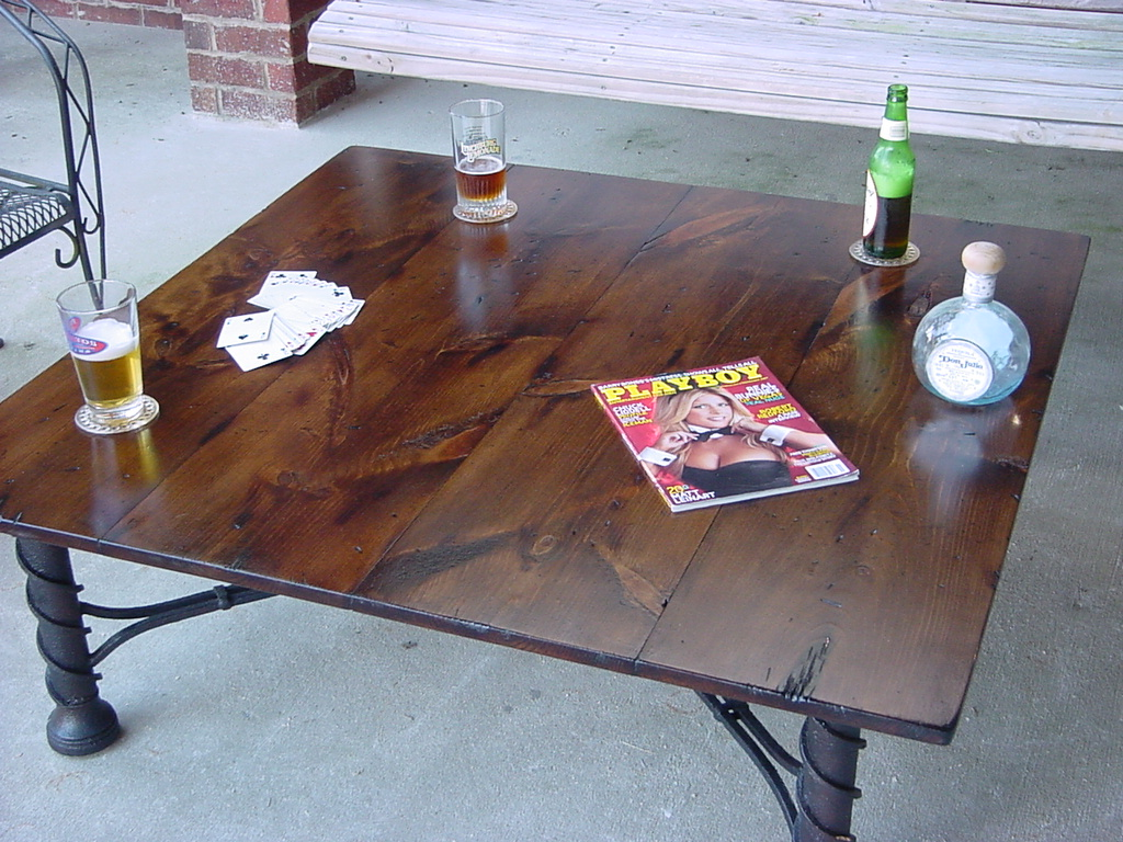 Man Cave 44 Inch Square Coffee Table On Heavy Metal Base