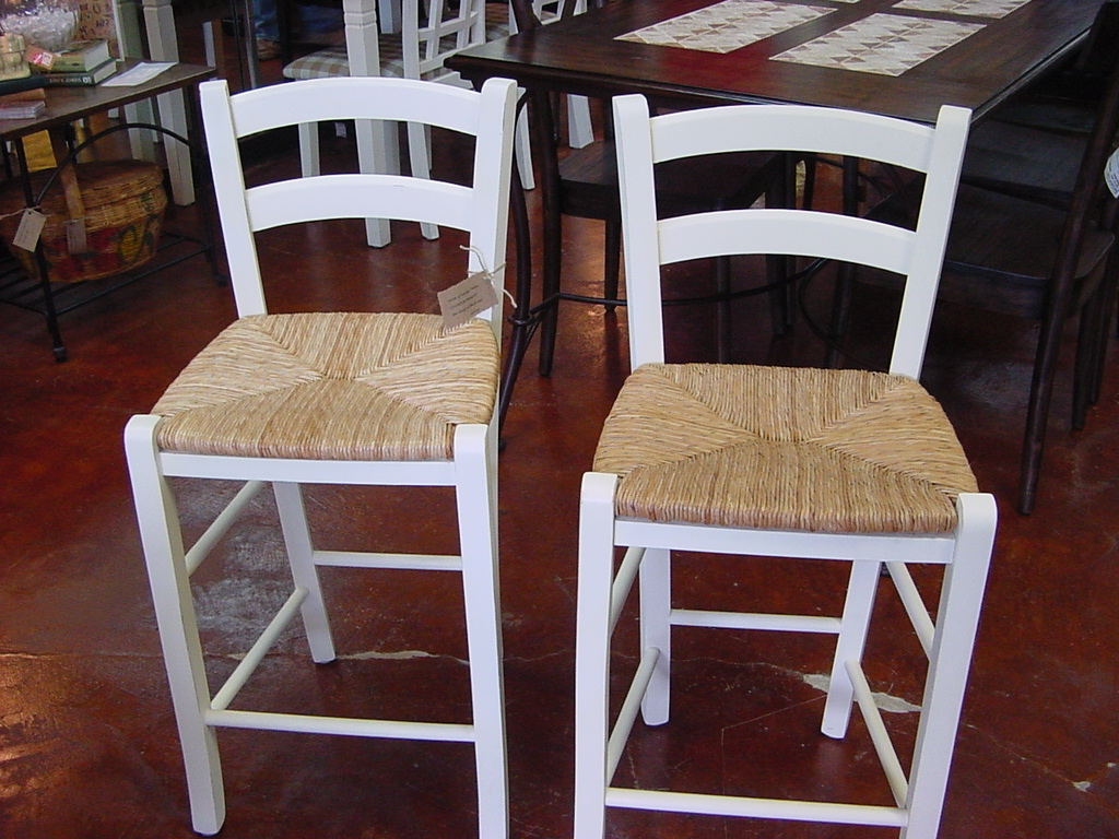 Pair Of Rush Seat Bar Stools In Lightly Distressed Cottage White