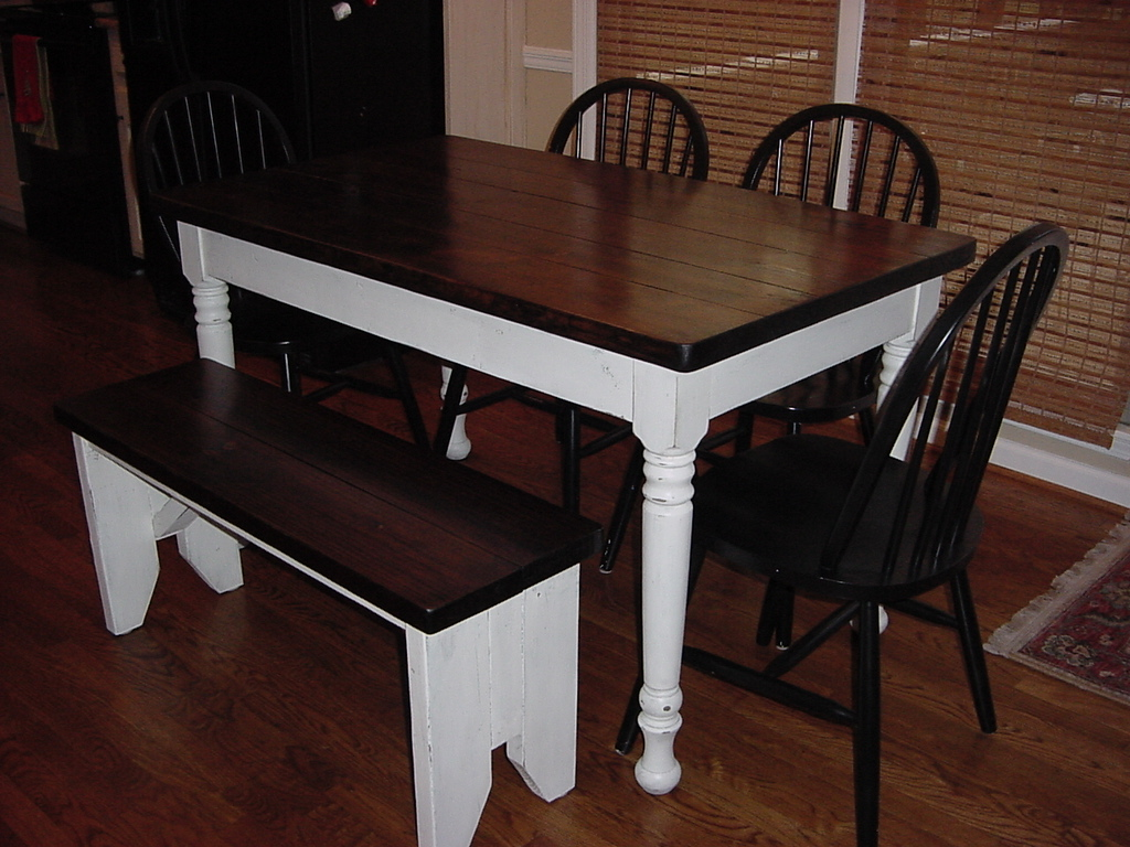 Farm Table And Matching Rustic Bench
